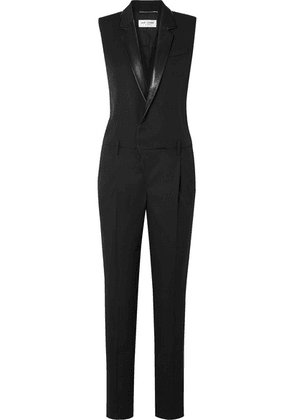 SAINT LAURENT - Leather-trimmed Grain De Poudre Wool Jumpsuit - Black