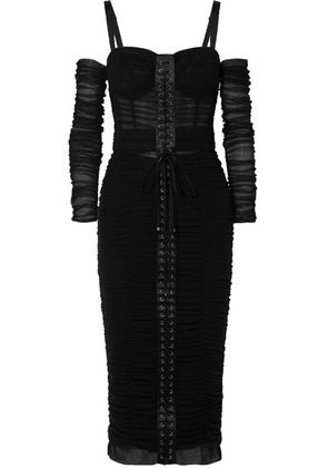 Dolce & Gabbana - Cold-shoulder Lace-up Stretch-tulle Midi Dress - Black