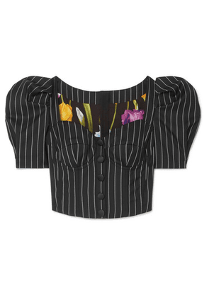 Dolce & Gabbana - Pinstriped Wool-blend Bustier Top - Black