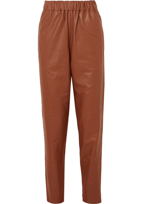 Tibi - Leather Tapered Pants - Brown