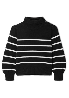 Co - Button-detailed Striped Wool And Cashmere-blend Sweater - Black