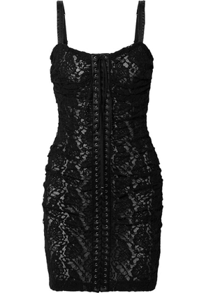 Dolce & Gabbana - Lace-up Satin-trimmed Stretch-lace Mini Dress - Black