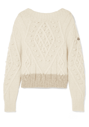 Moncler - Two-tone Cable-knit Alpaca-blend Sweater - Cream