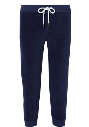 The Great - The Cropped Cotton-blend Velour Track Pants - Navy