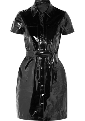 J Brand - Lucille Belted Patent-leather Mini Shirt Dress - Black