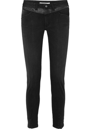 Givenchy - Leather-trimmed Mid-rise Straight-leg Jeans - Black