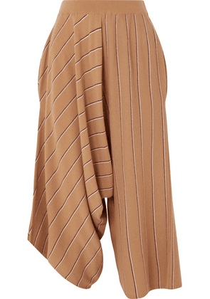 Stella McCartney - Draped Striped Wool Culottes - Camel