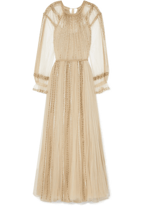 Valentino - Pleated Sequined Tulle Gown - Beige