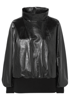 Givenchy - Glossed-leather And Ribbed Wool-blend Track Top - Black