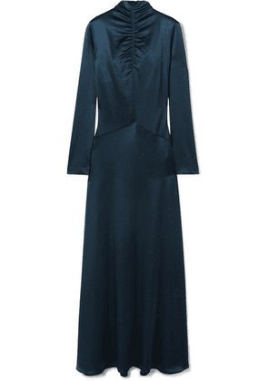 Cédric Charlier - Ruched Satin Gown - Navy