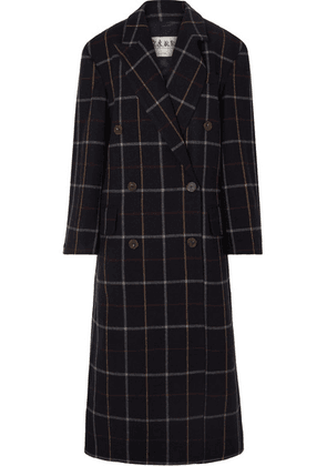 A.W.A.K.E. - Double-breasted Checked Wool-blend Coat - Navy