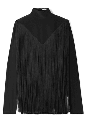 Givenchy - Fringed Silk Crepe De Chine Turtleneck Blouse - Black