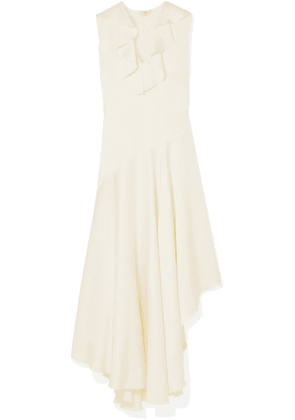 Fendi - Asymmetric Ruffled Crepe De Chine And Satin Midi Dress - Ivory