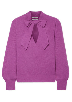 Co - Pussy-bow Ribbed Cashmere Sweater - Violet