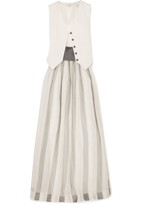Brunello Cucinelli - Belted Striped Herringbone Cotton And Linen-blend, Silk-blend Satin And Organza Maxi Dress - White
