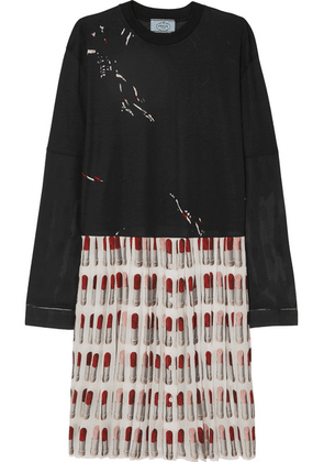 Prada - Printed Cotton-jersey And Pleated Silk Crepe De Chine Dress - Black