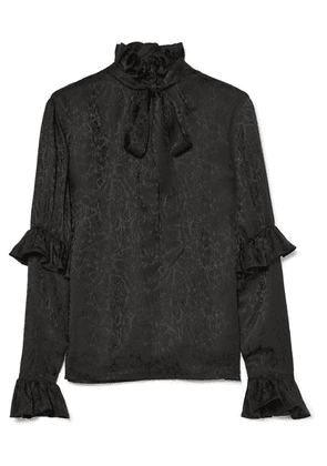 SAINT LAURENT - Pussy-bow Ruffled Silk-satin Jacquard Blouse - Black