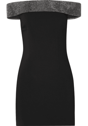 Christopher Kane - Crystal-embellished Off-the-shoulder Twill Mini Dress - Black