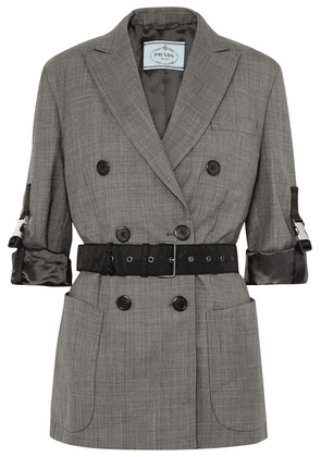 Prada - Belted Double-breasted Checked Wool Blazer - Gray