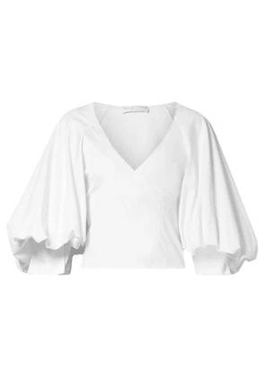 Caroline Constas - Josie Wrap-effect Cotton-blend Poplin Blouse - White