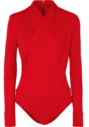 Versace - Wrap-effect Crepe Bodysuit - Red
