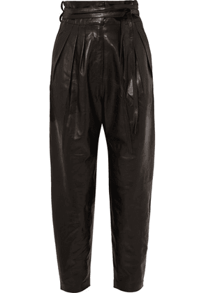 IRO - Belted Leather Tapered Pants - Black