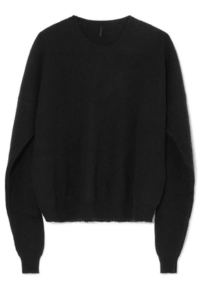 Unravel Project - Oversized Ribbed Wool And Cashmere-blend Sweater - Black