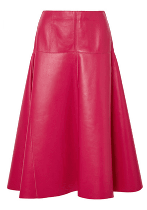 Fendi - Leather Midi Skirt - Pink