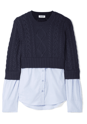 KENZO - Layered Cable-knit Wool And Cotton-poplin Sweater - Blue