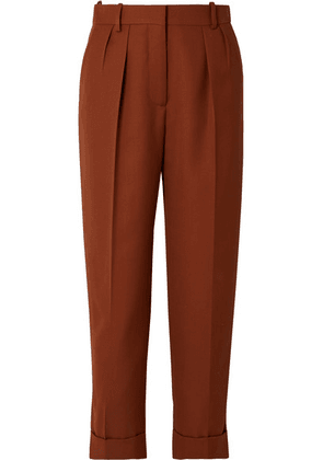 Victoria Beckham - Cropped Pleated Grain De Poudre Wool Tapered Pants - Brick