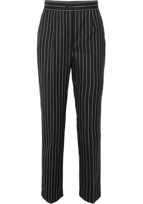 Dolce & Gabbana - Pinstriped Wool-blend Straight-leg Pants - Black
