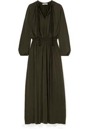 Elizabeth and James - Luna Gathered Stretch-jersey Maxi Dress - Army green