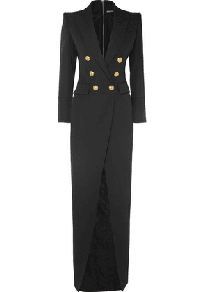 Balmain - Button-embellished Wool-twill Gown - Black