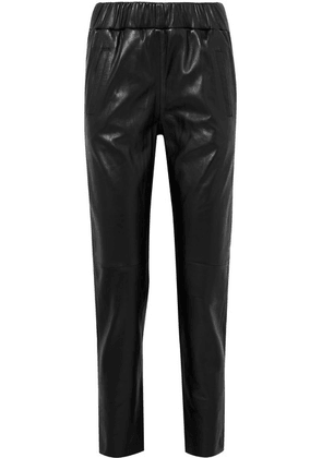STAND - Noni Leather Track Pants - Black