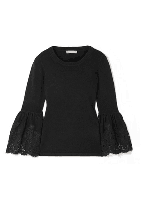 Michael Kors Collection - Lace-trimmed Cashmere-blend Sweater - Black
