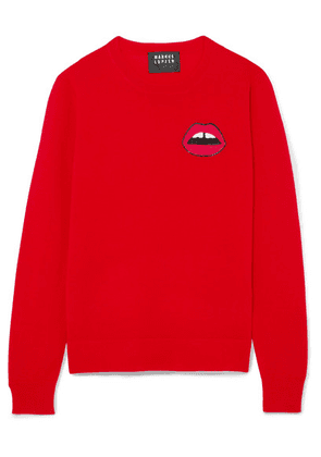 Markus Lupfer - Tracy Sequin-embellished Merino Wool Sweater - Red
