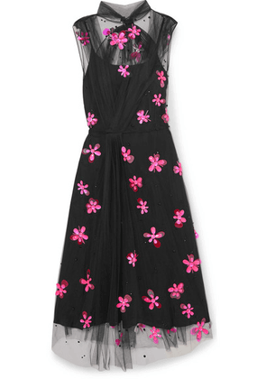 Prada - Embellished Tulle Midi Dress - Black