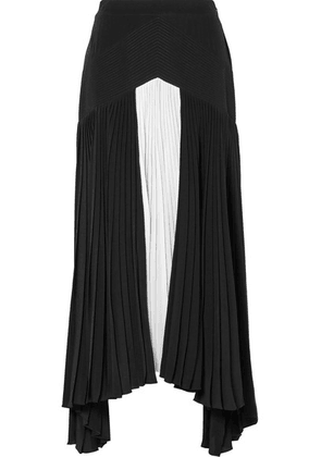 Givenchy - Asymmetric Pleated Two-tone Silk Crepe De Chine Maxi Skirt - Black