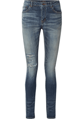 Saint Laurent - Distressed High-rise Skinny Jeans - Blue