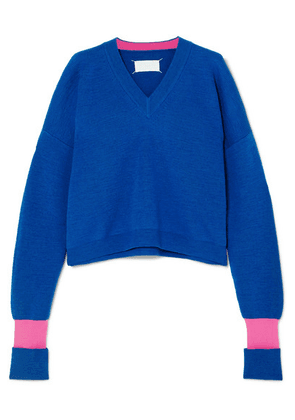 Maison Margiela - Two-tone Wool-blend Sweater - Blue