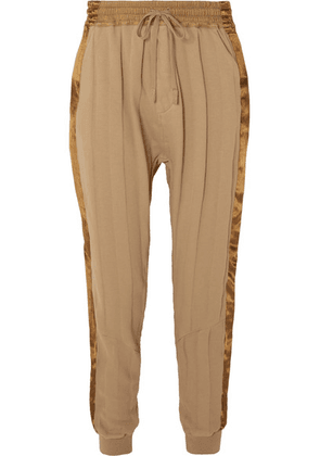 Haider Ackermann - Striped Satin-trimmed Cotton-jersey Track Pants - Light brown