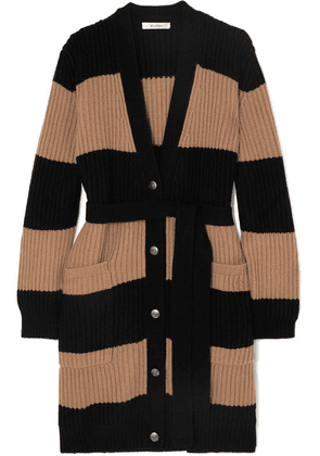 Max Mara - Belted Striped Ribbed Wool And Cashmere-blend Cardigan - Beige