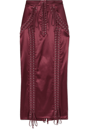 Dolce & Gabbana - Lace-up Stretch-satin Midi Skirt - Crimson