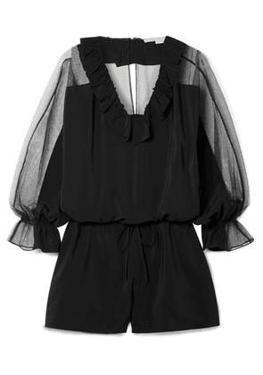 Stella McCartney - Ruffled Silk Crepe De Chine And Cotton-blend Tulle Playsuit - Black