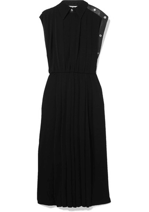 Givenchy - Leather-trimmed Pleated Jersey Midi Dress - Black