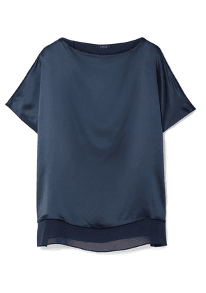 Akris - Silk-satin And Georgette Blouse - Navy