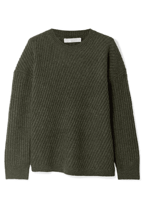 Vince - Asymmetric Ribbed Wool-blend Sweater - Army green