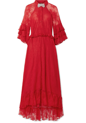 Dodo Bar Or - Crystal-embellished Ruffled Stretch-lace Midi Dress - Red