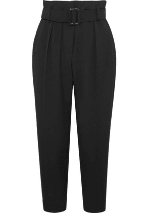 Brunello Cucinelli - Cropped Belted Crepe Pants - Black