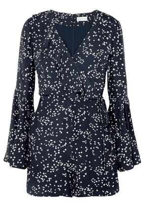 Rebecca Vallance - Flores Wrap-effect Ruffled Printed Crepe Playsuit - Navy